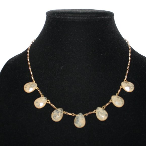 Vintagejelyfish Jewelry - Gold and natural stone necklace adjustable
